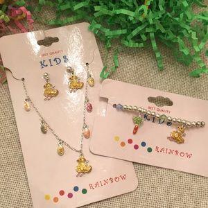 NWT Kids Easter Necklace Earrings Bracelet